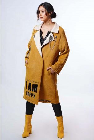 מעיל צמר צהוב  HAPPY