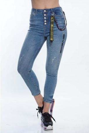 מכנסי ג'ינס כחולים סגירת כפתורים STORY
