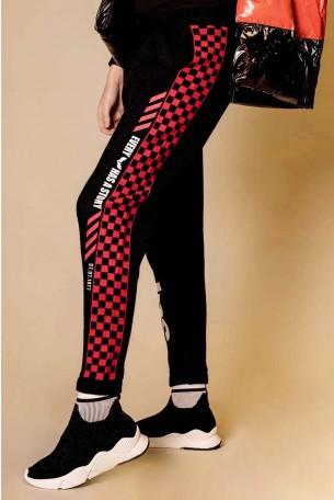 מכנסי סריג משבצות אדום שחור  STORY