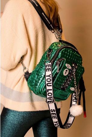 תיק גב ירוק בוהק מעוצב בעבודת יד FASHION