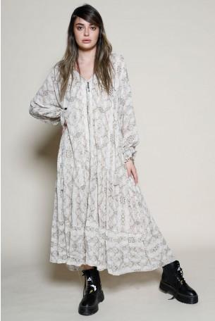 שמלת מקסי שיפון פרינט מנוחש בגוון בז' INSTRUCTIONS