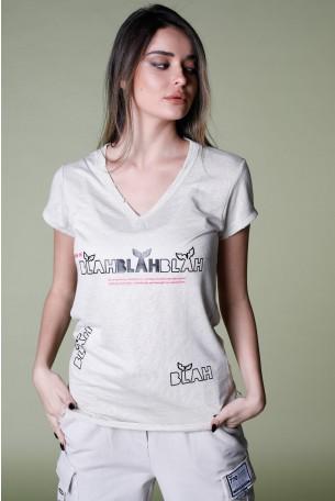 חולצת T בגוון בז' מפתח V BLAH