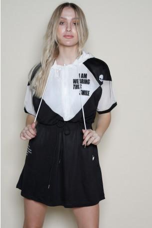שמלת טוניקה מיני בשחור לבן   SMILE