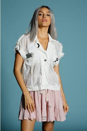 חולצת וסט מכופתרת ללא שרוול בגוון לבן שנהב ORIGINAL