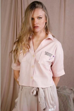 חולצה מכופתרת בגוון ורוד בייבי UNIFORM