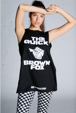 חולצה שחורה ללא שרוול גב פתוח FOX