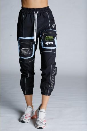 מכנסי ג'וגר שחורים מעוצבים כיסים  HAND MADE