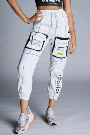מכנסי ג'וגר לבנים מעוצבים כיסים  HAND MADE