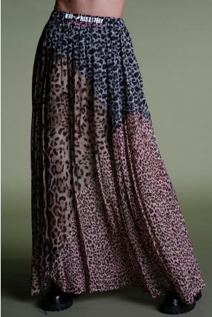 חצאית מקסי מנומרת שילוב גוונים STORY