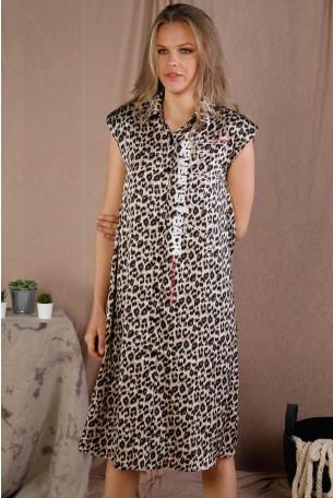 שמלת מידי מנומרת בגוונים חומים  BACK