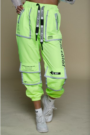 מכנסי ג'וגר צהוב ניאון מעוצבים כיסים  COLOR