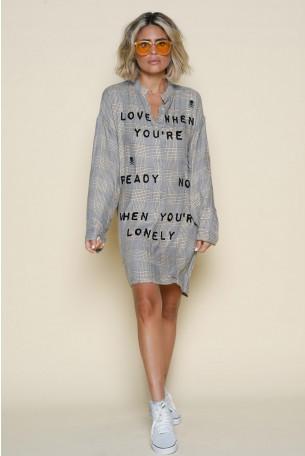 שמלת טוניקה מיני משבצות בז' אפור LOVE