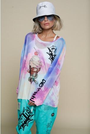 חולצת רשת שקופה טאי דיי סגלגלה ICECREAM