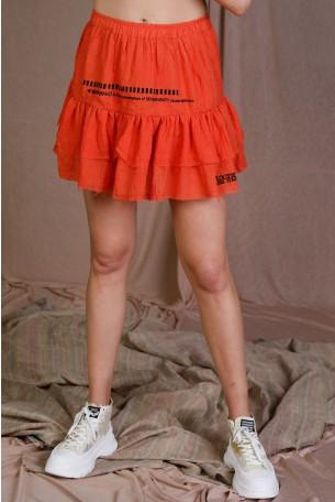 חצאית מיני שכבות בגוון כתום WARNING