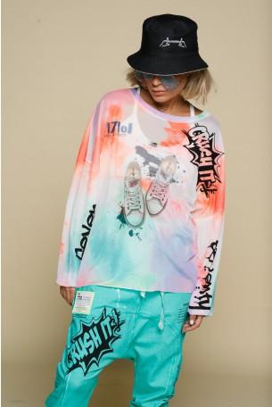 חולצת רשת שקופה טאי דיי גוונים כתומים SNEAKERS