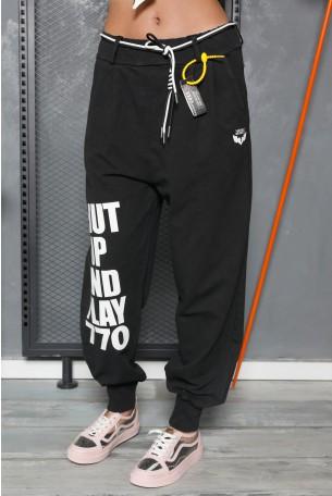 מכנסי פוטר שחורים SHUT UP