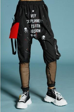 מכנסי ג'וגר שחורים שילוב רשת TRY