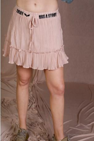 חצאית מיני ורודה בד קרפ STORY
