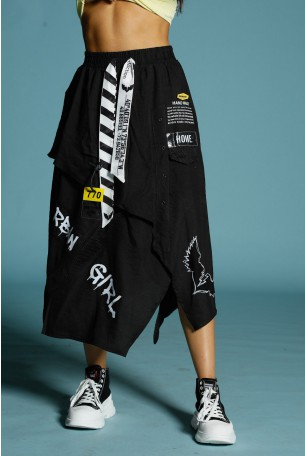 חצאית מקסי שחורה שכבות HOME