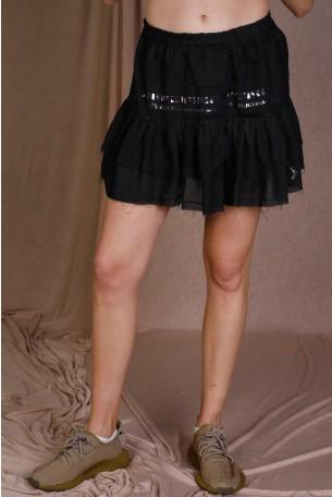 חצאית מיני שכבות שחורה WARNING