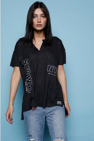 חולצת T כיסים שחורה NYC