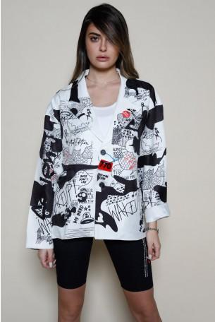 חולצת ג'קט מכופתרת הדפסי גרפיטי בשחור לבן GRAFFITI