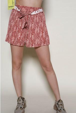 חצאית מכנסיים מיני שיפון הדפס מנוחש בגווני חום נחושת  STORY