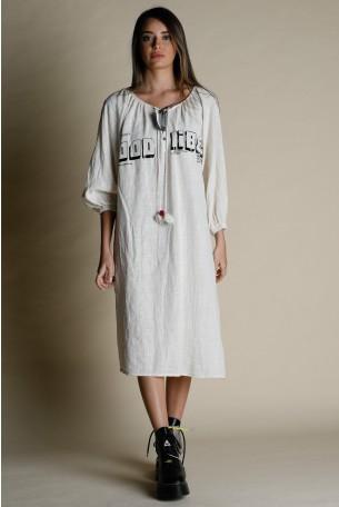 שמלת מידי פשתן בגוון בז'  VIBES