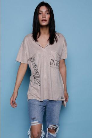 חולצת T כיסים חומה NYC