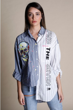 חולצה מכופתרת אסימטרית בגווני לבן וג'ינס FIND