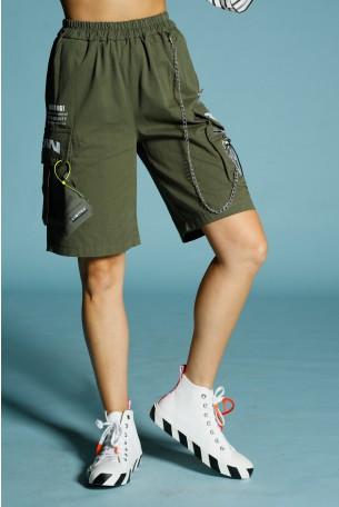 """מכנסי דגמ""""ח קצרים ירוק זית BE HERE"""