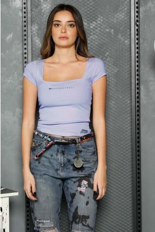חולצת ריב בגוון סגול בהיר מעוצבת WARNING