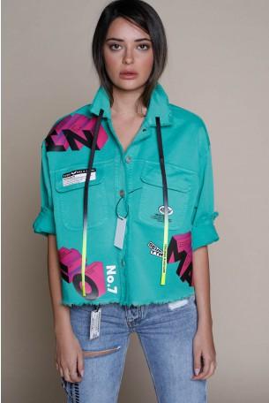 חולצת ג'קט מכופתר בגוון ירוק GAS