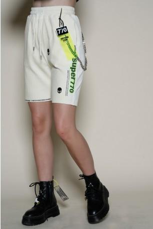 מכנסי ברמודה בד קורדרוי בגוון שמנת HAND MADE