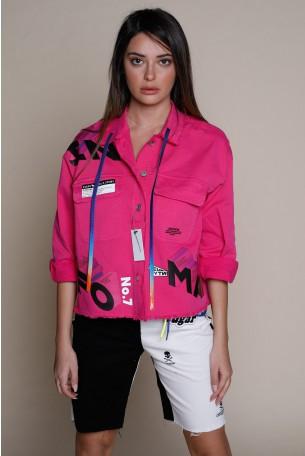 חולצת ג'קט מכופתר בגוון ורוד פוקסיה  GAS