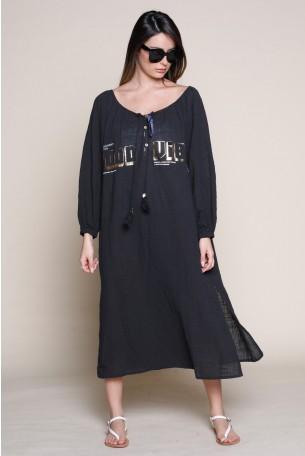 שמלת מידי פשתן שחורה  VIBES