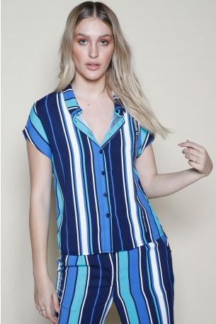 סט חליפה מעוצב פסים בגוונים כחולים ATTITUDE