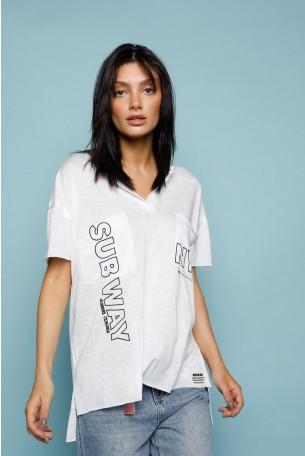 חולצת T כיסים לבנה NYC