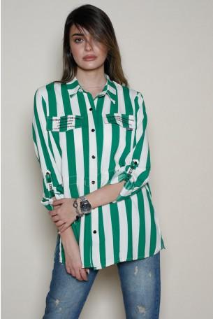 חולצה מכופתרת פסים בגווני ירוק ולבן IN ORDER