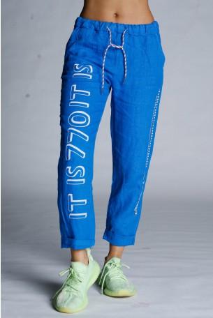 מכנסי פשתן כחולים WARNING