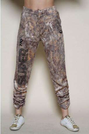 מכנסי סאטן מעוצבים בגוונים חומים SUPER