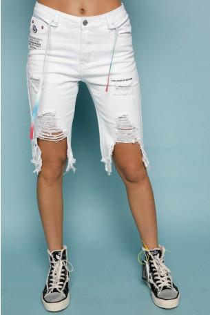מכנסי ברמודה ג'ינס לבנים קרעים HOLLYLAND