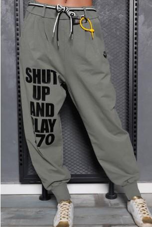 מכנסי פוטר בגוון זית SHUT UP