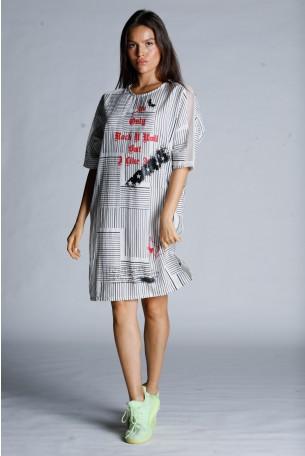 שמלת מידי בגווני שחור ולבן שילוב רשת ROCK