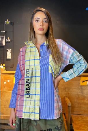 חולצה מכופתרת משבצות ופסים צבעונית URBAN