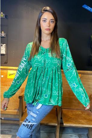 חולצה בהדפס אתני בגוון ירוק דפוס פרחוני CRAZY