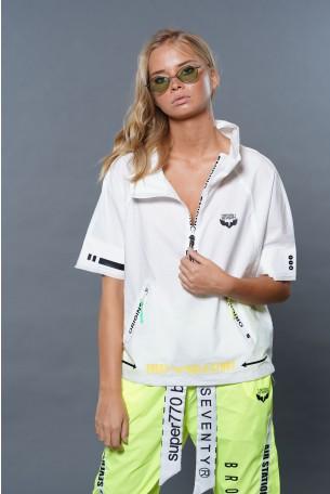 חולצת עליונית לבנה שרוול קצר רוכסן ORIGINS