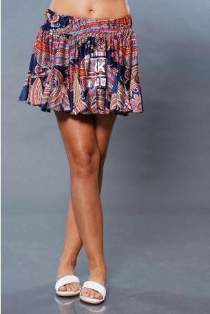 חצאית מיני כחול צבעוני TOO MUCH