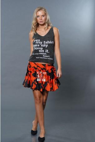 חצאית מיני אדום שחור TOO MUCH