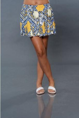 חצאית מיני כחול צהוב TOO MUCH